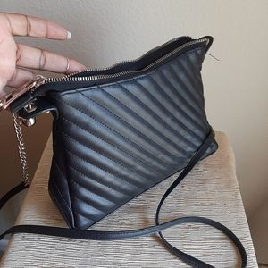 Black quilted crossbody silver chain link